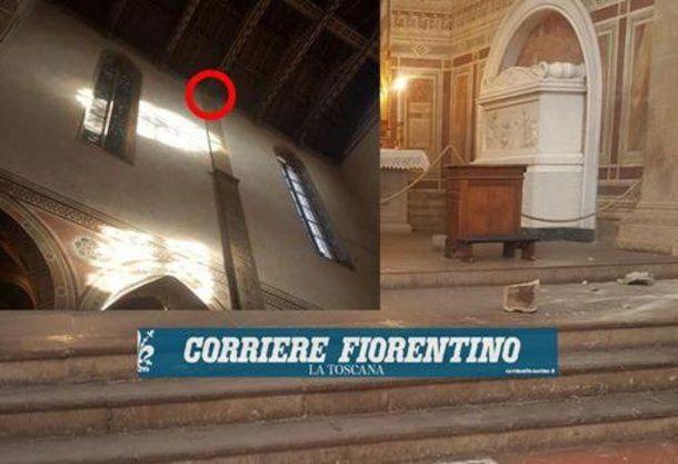 Parte del techo que se desprendió. Gentileza de Corriere Fiorentino
