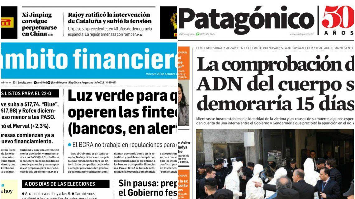 Tapas de diarios del viernes 20 de octubre de 2017