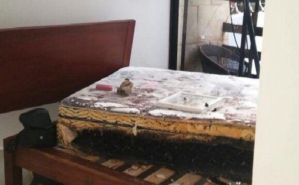 Así quedó la habitación del departamento alquilado por las dos turistas argentinas.<br>