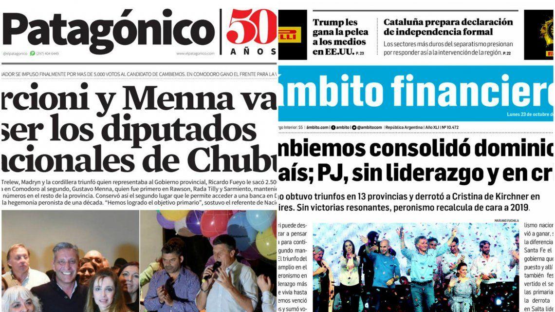 Tapas de diarios del lunes 23 de octubre de 2017