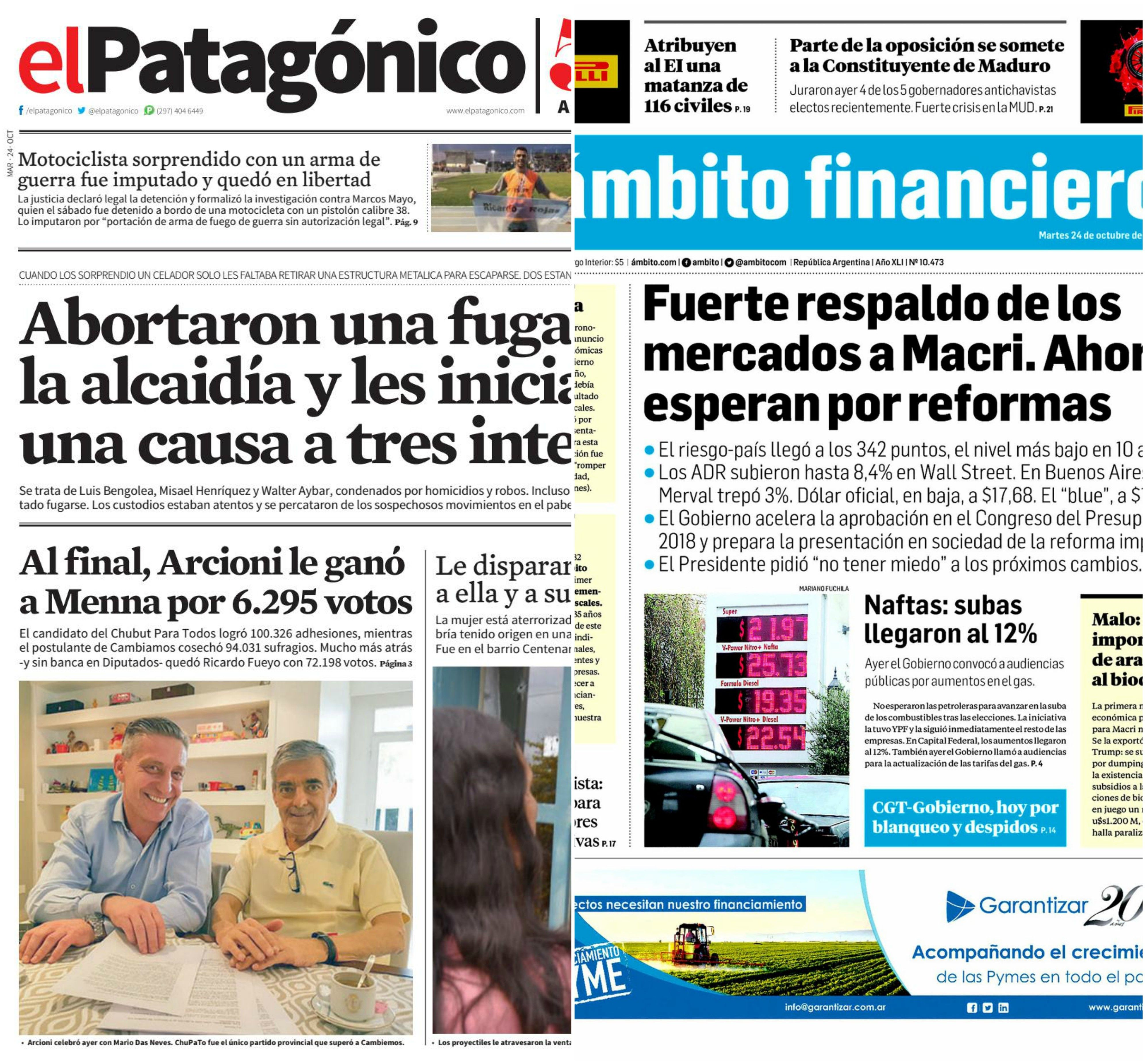 Tapas de diarios del martes 24 de octubre de 2017