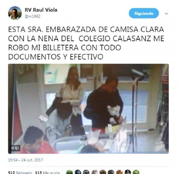 El hombre escrachó a la ladrona en las redes sociales