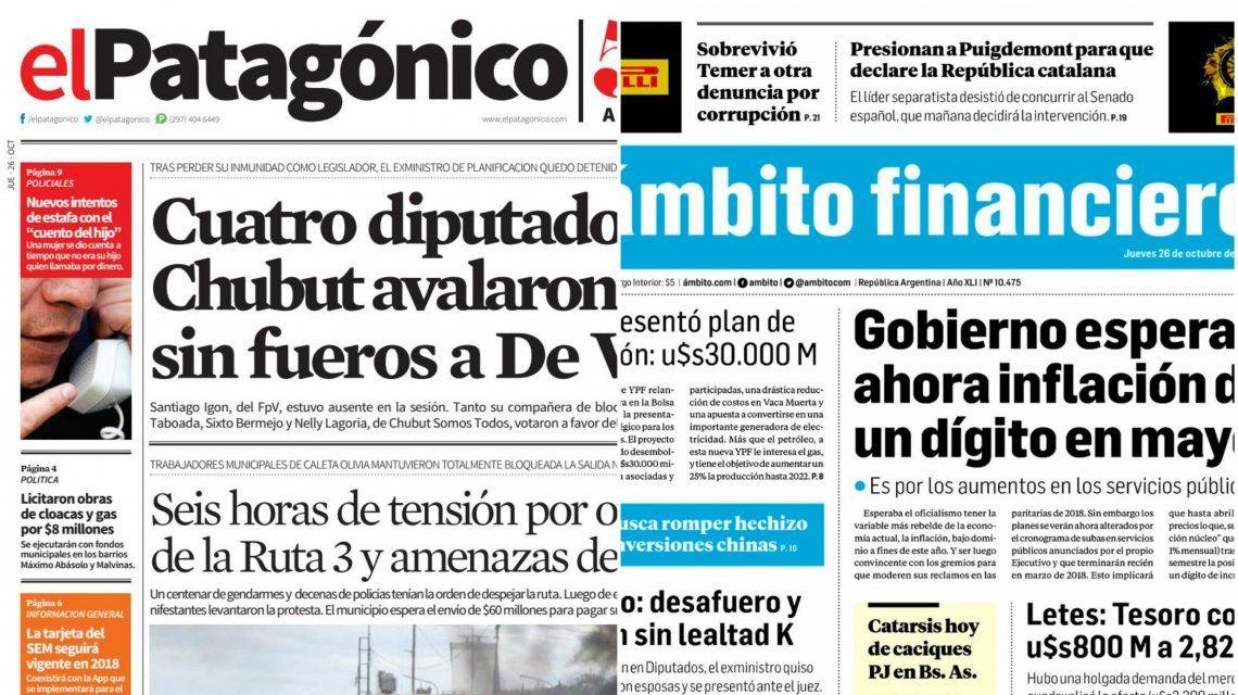 Tapas de diarios del jueves 26 de octubre de 2017
