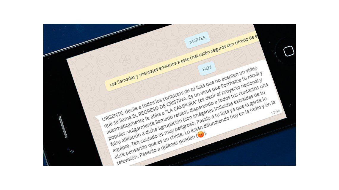Este es el mensaje que circula por Whatsapp