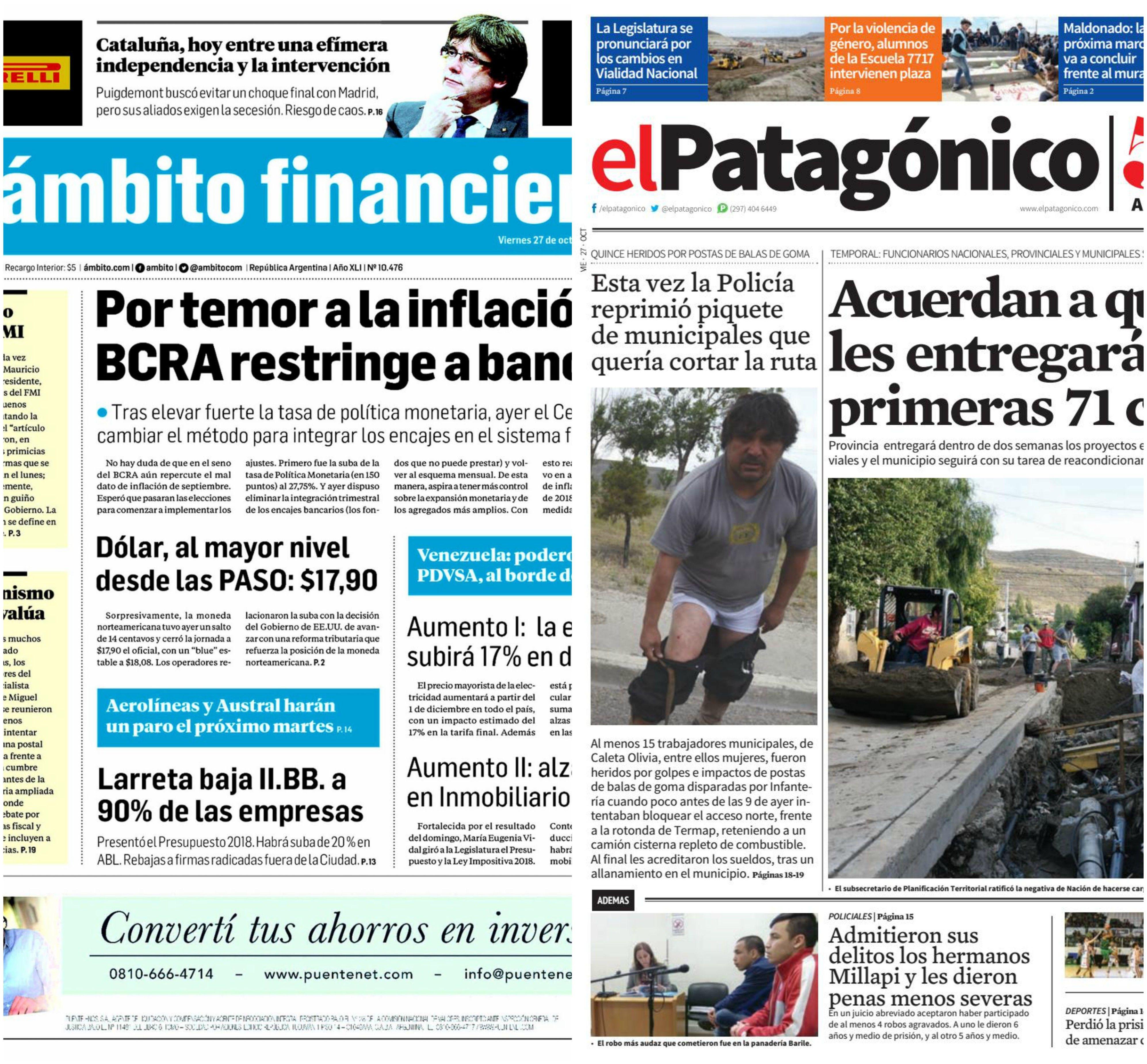 Tapas de diarios del viernes 27 de octubre de 2017