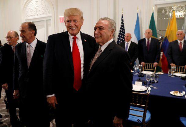 Donald Trump y Michel Temer<br>