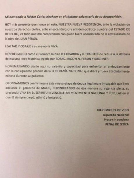 <p>La carta del ex ministro kirchnerista desde el penal de Ezeiza.</p><p></p>