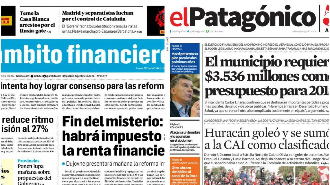 Tapas de diarios del lunes 30 de octubre de 2017