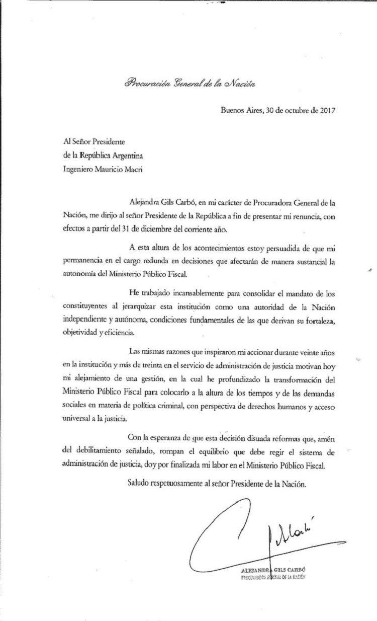 La carta que presentó al presidente Macri la procuradora Alejandra Gils Carbó
