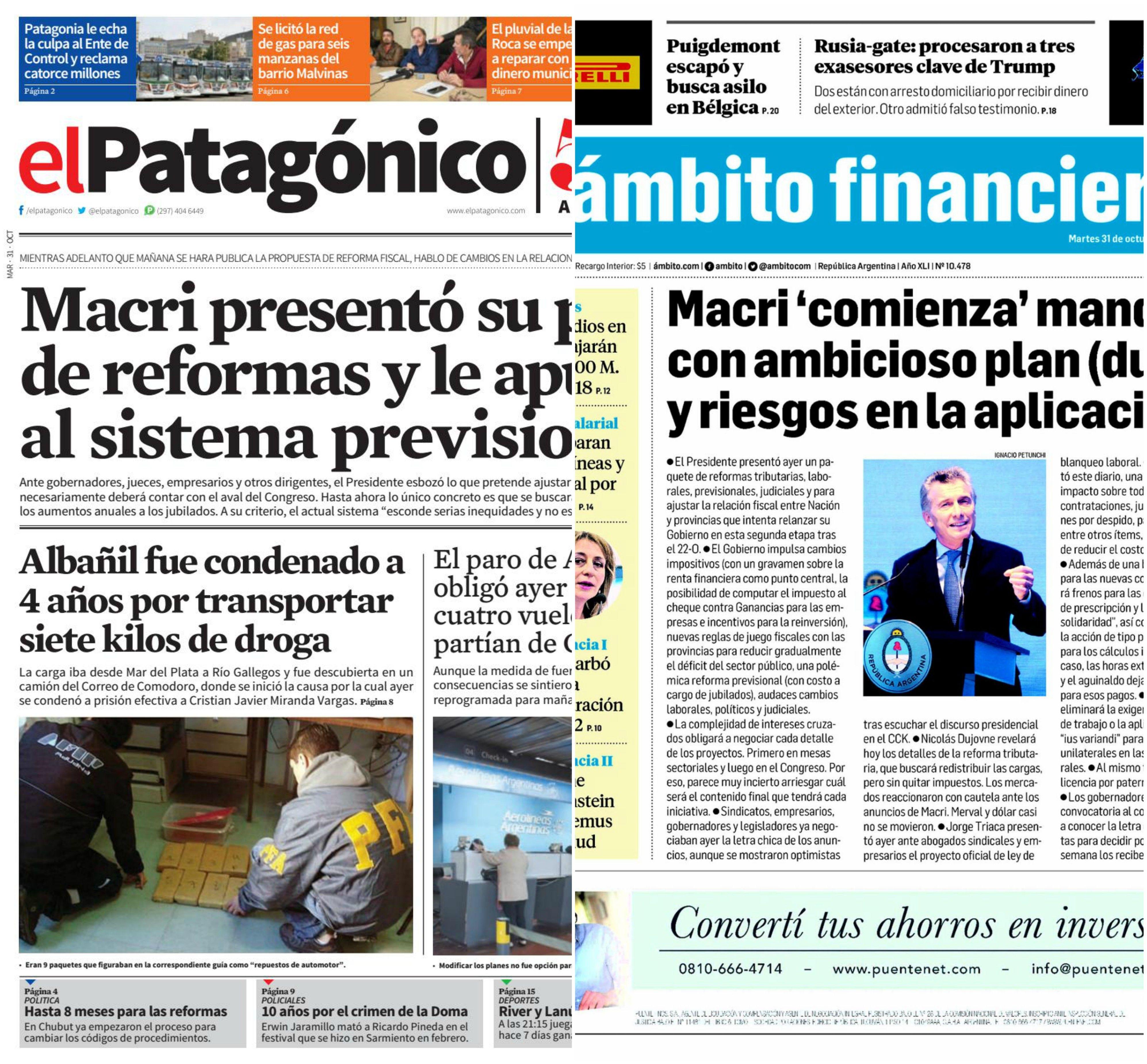 Tapas de diarios del martes 31 de octubre de 2017