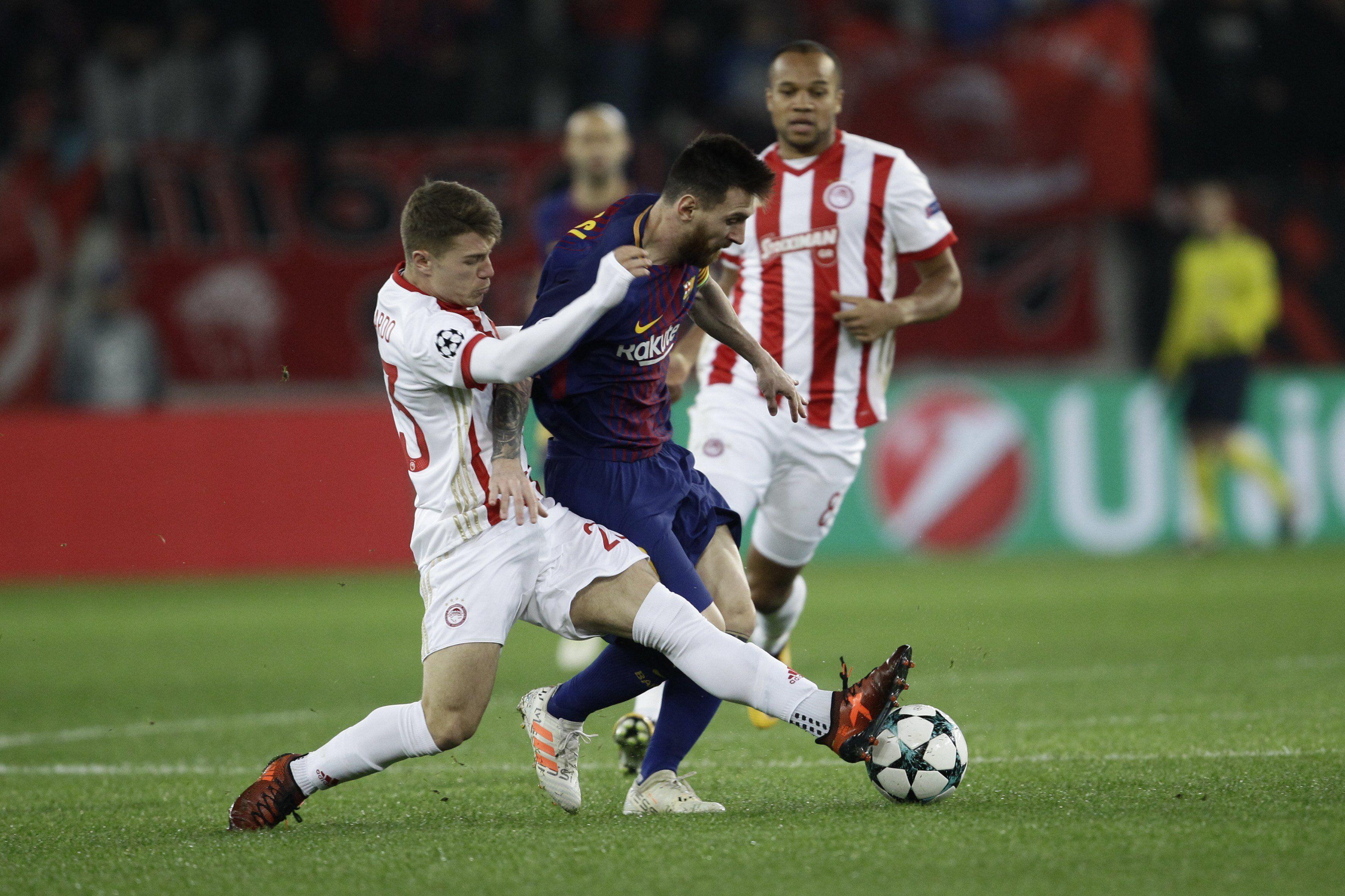 Barcelona, con Messi, apenas empató sin goles ante Olympiacos en Grecia