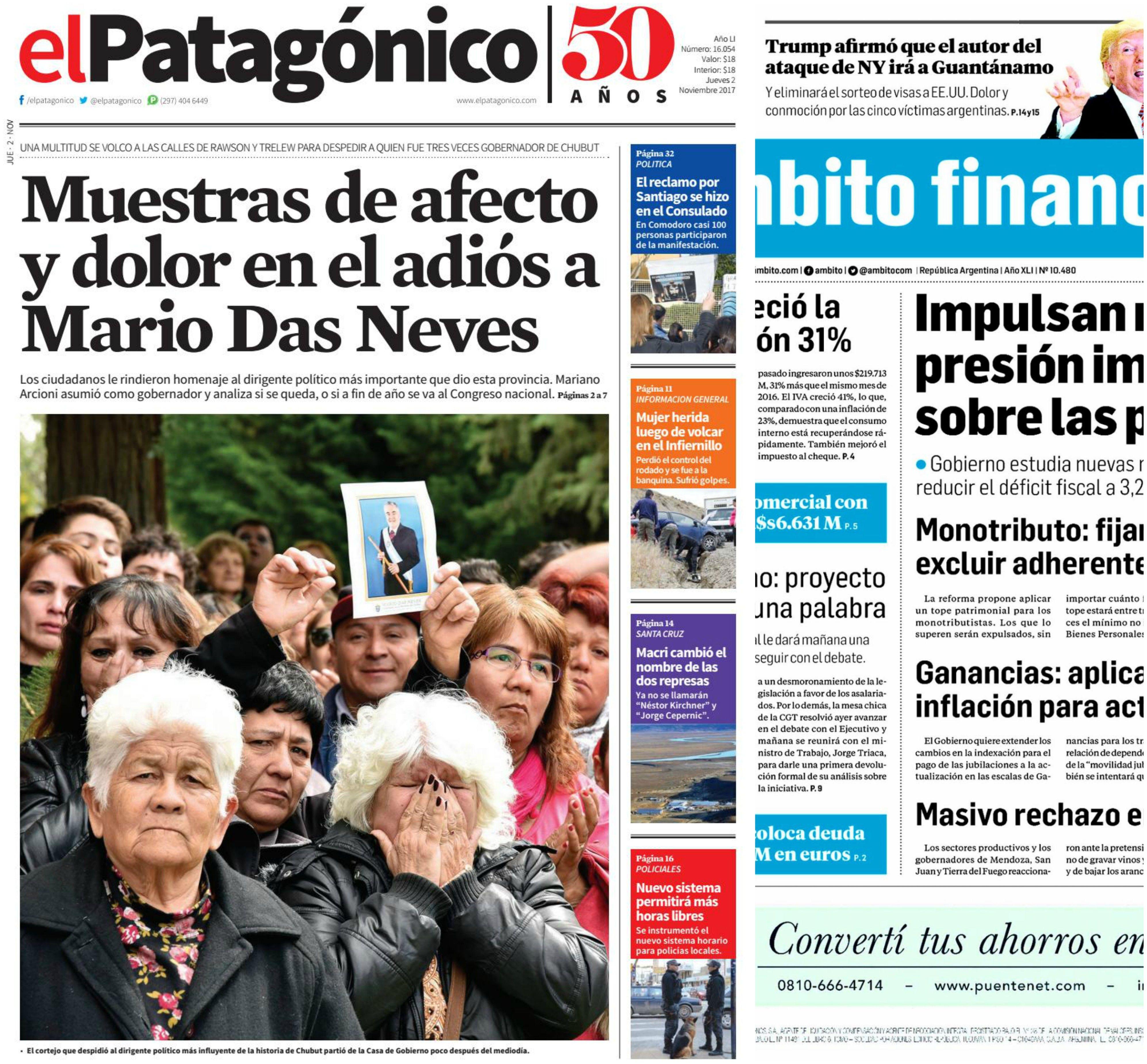 Tapas de diarios del jueves 2 de noviembre de 2017