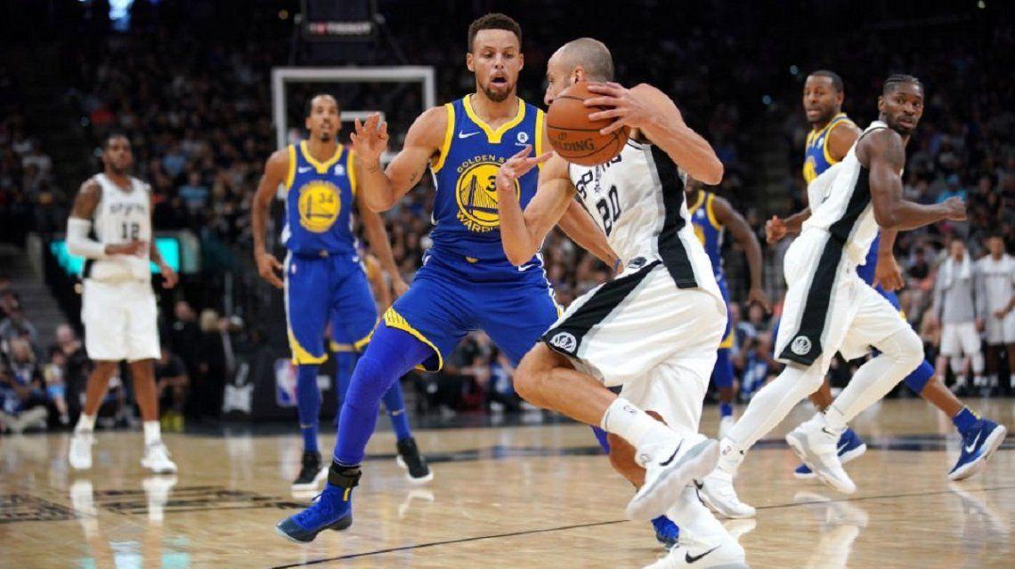 Manu Ginóbili atacando para los Spurs