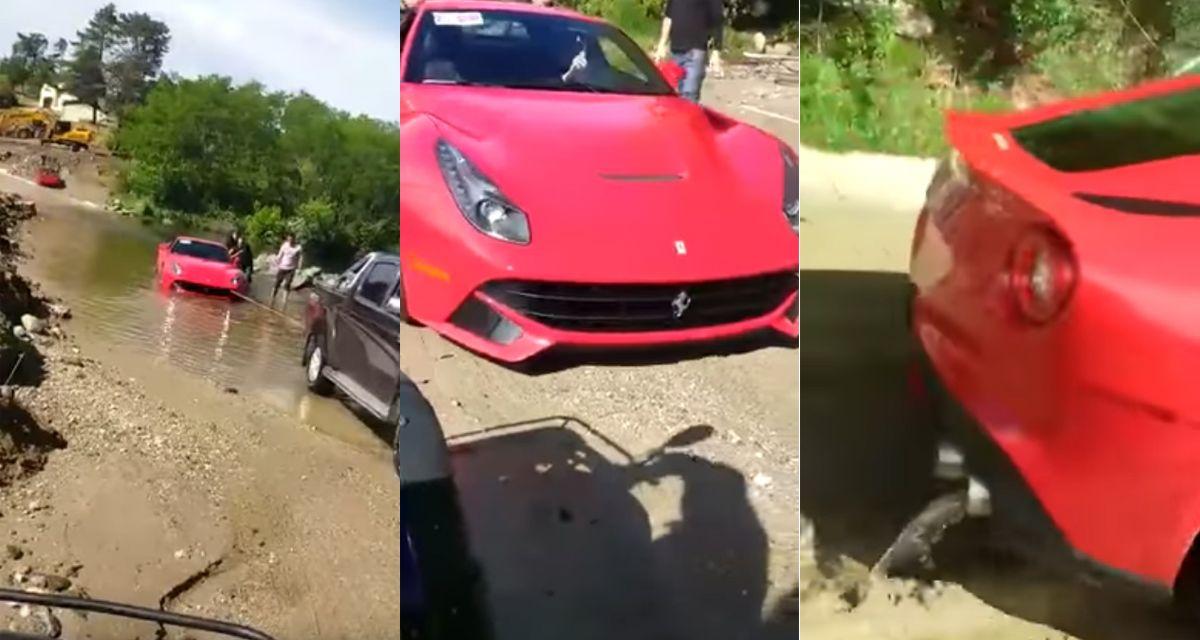 VIDEO: hundió una Ferrari de casi un millón de dólares en un vado en Córdoba