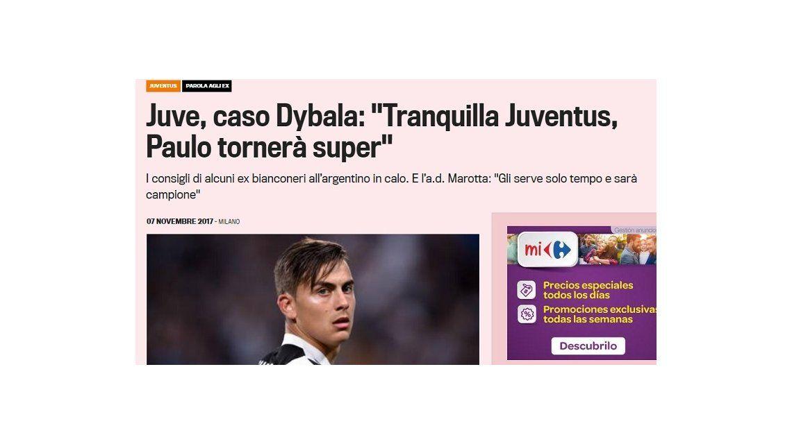 En Italia hablan del mal momento de Paulo Dybala