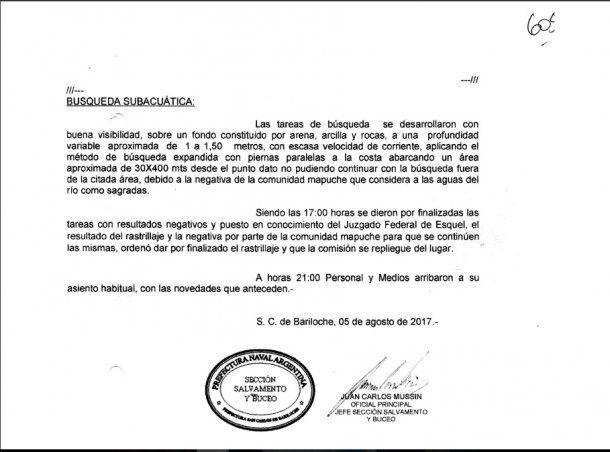 Informe del Juan Carlos Mussin entregado al juez Otranto el 5 de agosto luego del primer rastrillaje