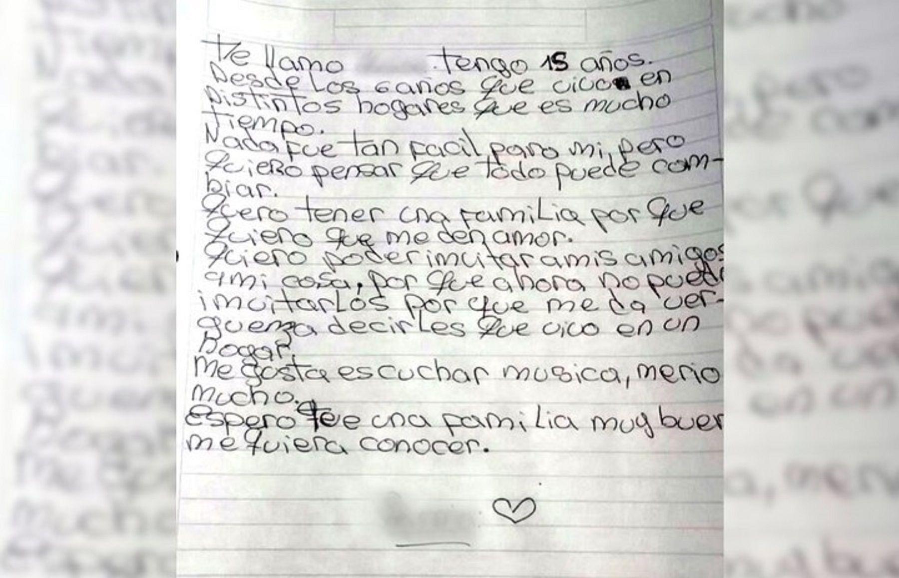 La conmovedora carta de una adolescente que pide ser adoptada