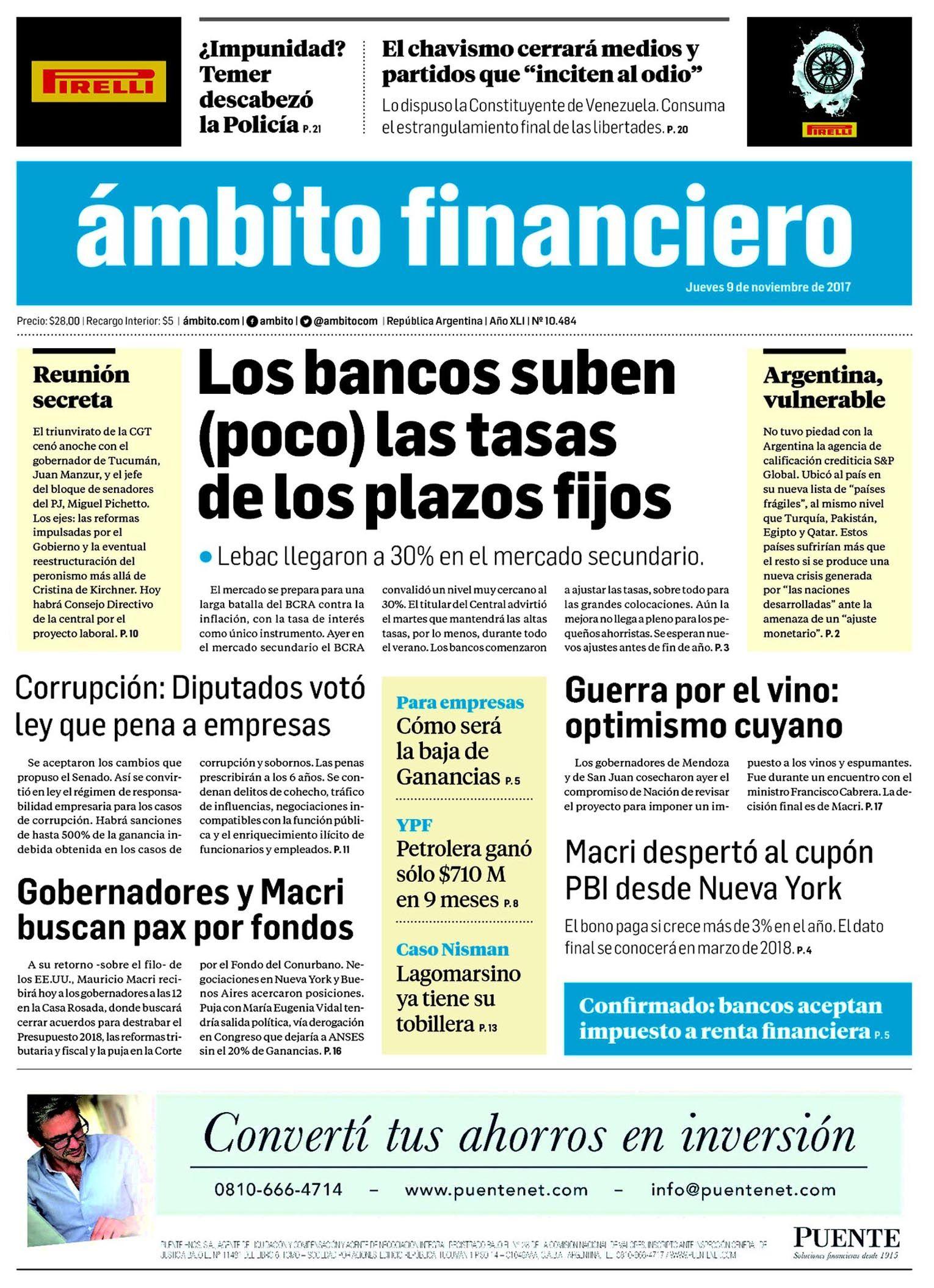 Tapas de diarios del jueves 9 de noviembre de 2017