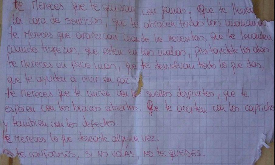 Mensaje que tenía en el espejo del baño Ailín Torres
