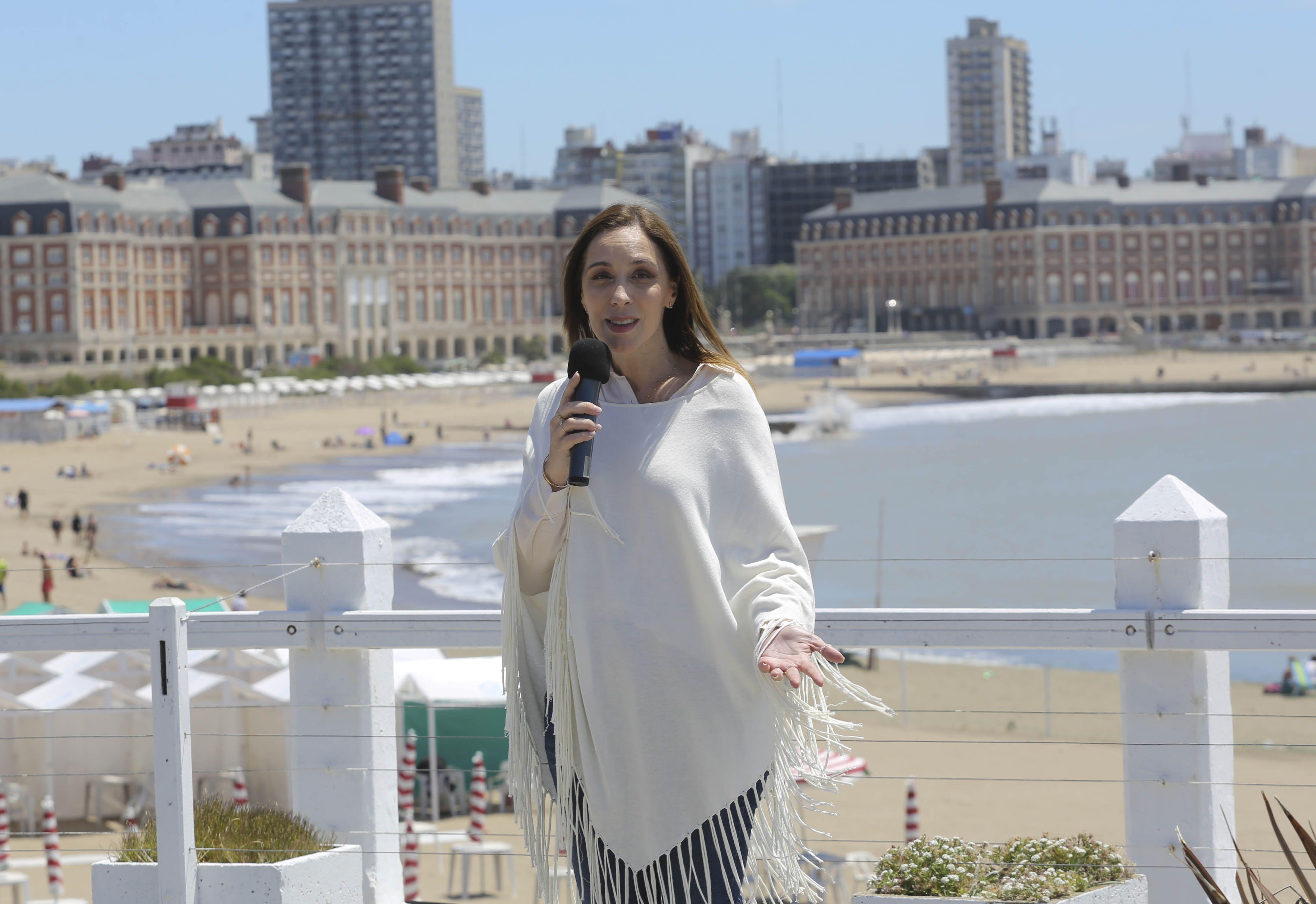 María Eugenia Vidal durante el anuncio de una serie de  beneficios para los turistas que visiten Mar del Plata.
