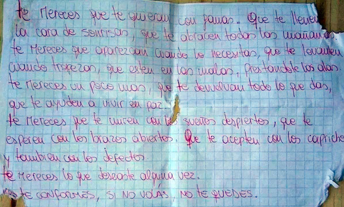 La carta que escribió Ailín