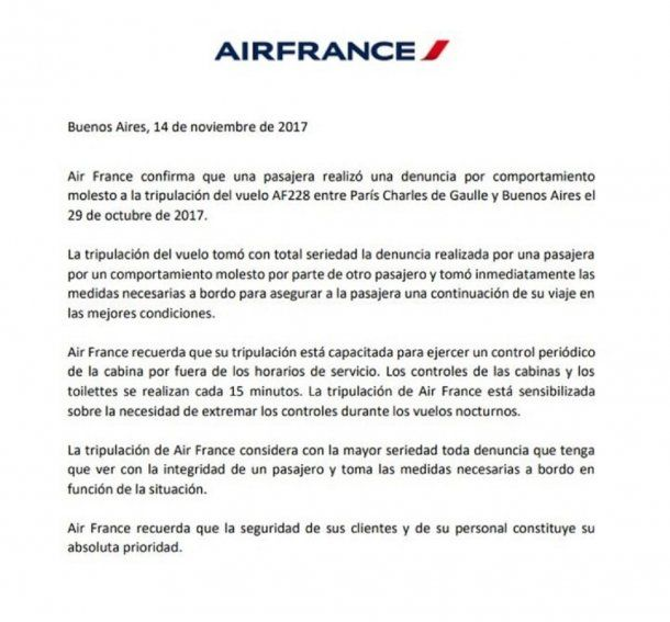 El comunicado oficial de Air France.
