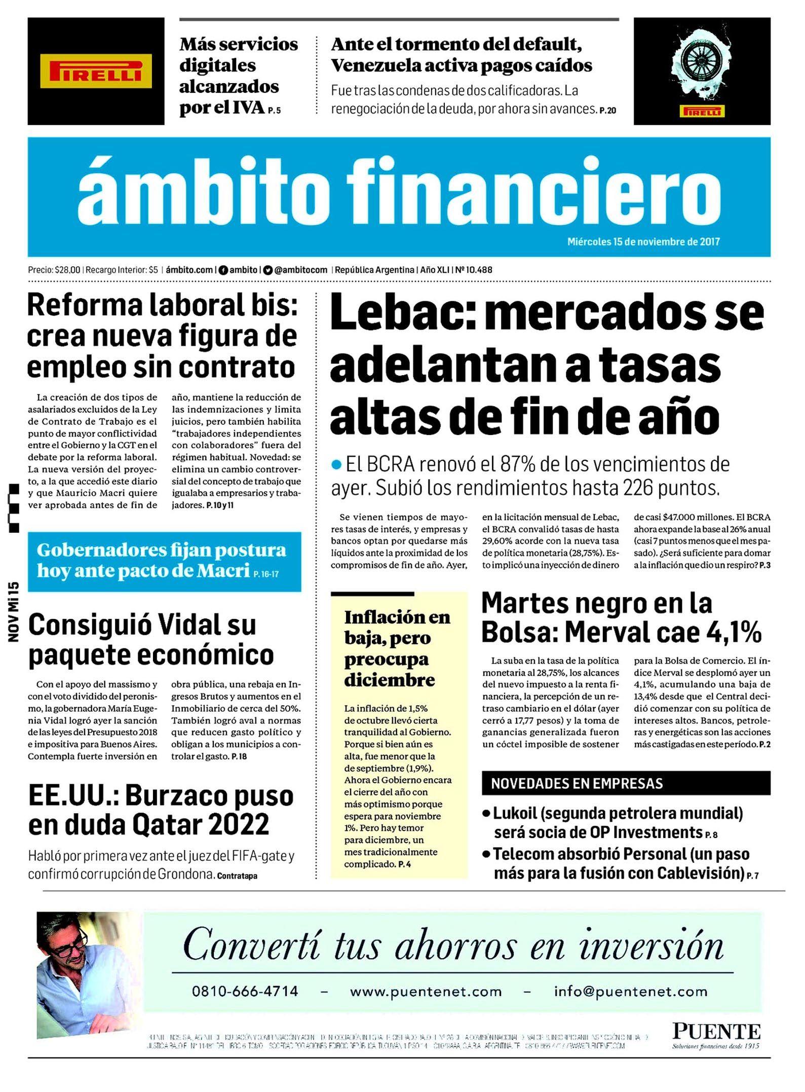 Tapas de diarios del miércoles 15 de noviembre de 2017