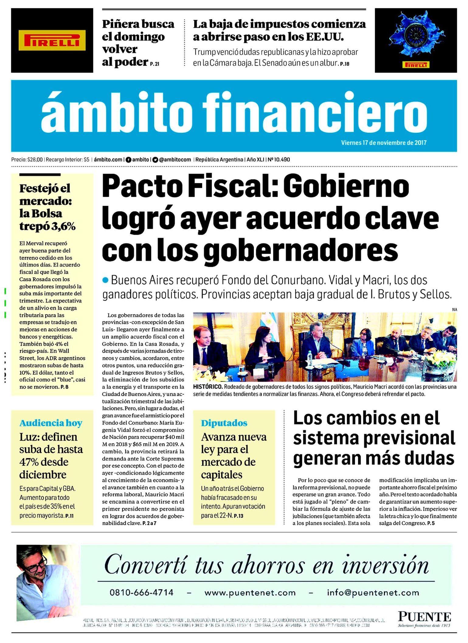 Tapas de diarios del viernes 17 de noviembre de 2017