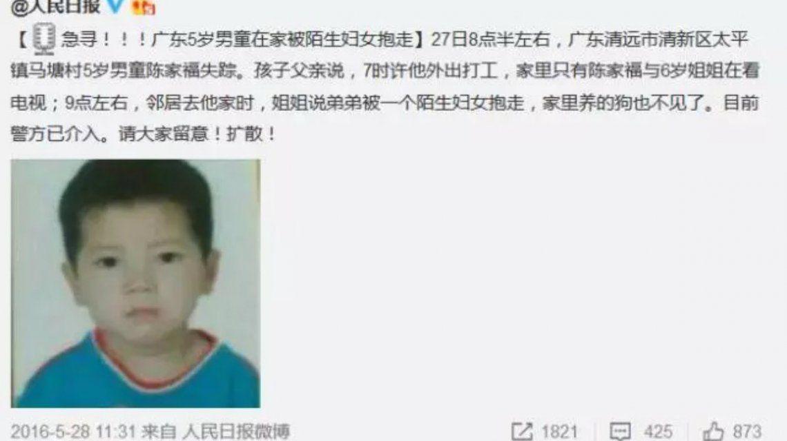 La búsqueda del niño se prolongó durante nueve meses