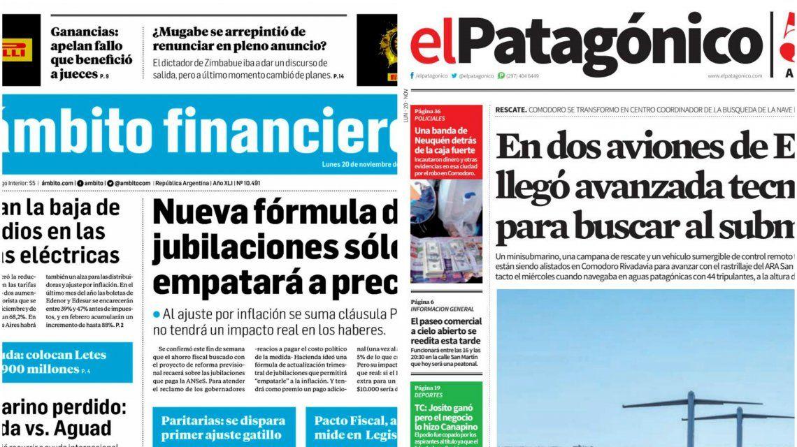 Tapas de diarios del lunes 20 de noviembre de 2017