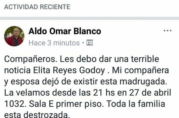 Comunicado de Aldo Omar Blanco sobre el fallecimiento de su esposa