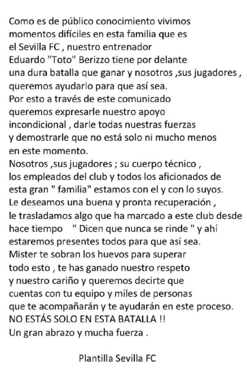Piel de gallina: la emocionante carta de los jugadores de Sevilla para Eduardo Berizzo