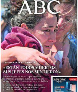 Tapas de diarios internacionales con el ARA San Juan