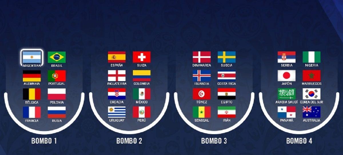 Así quedaron los bombos para el Mundial