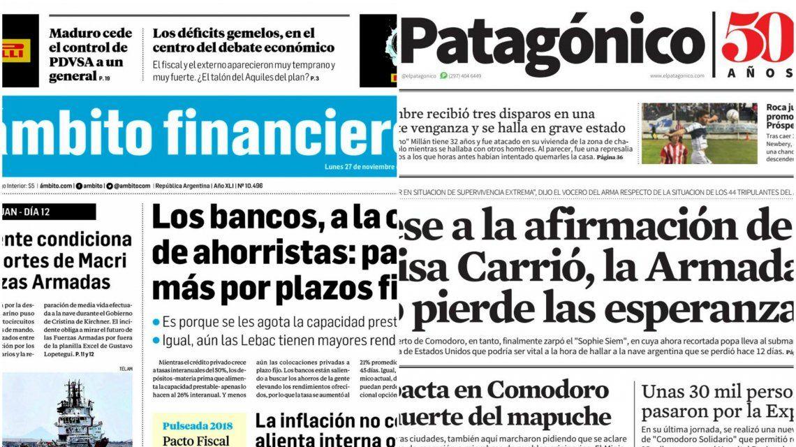 Tapas de diarios del lunes 27 de noviembre de 2017