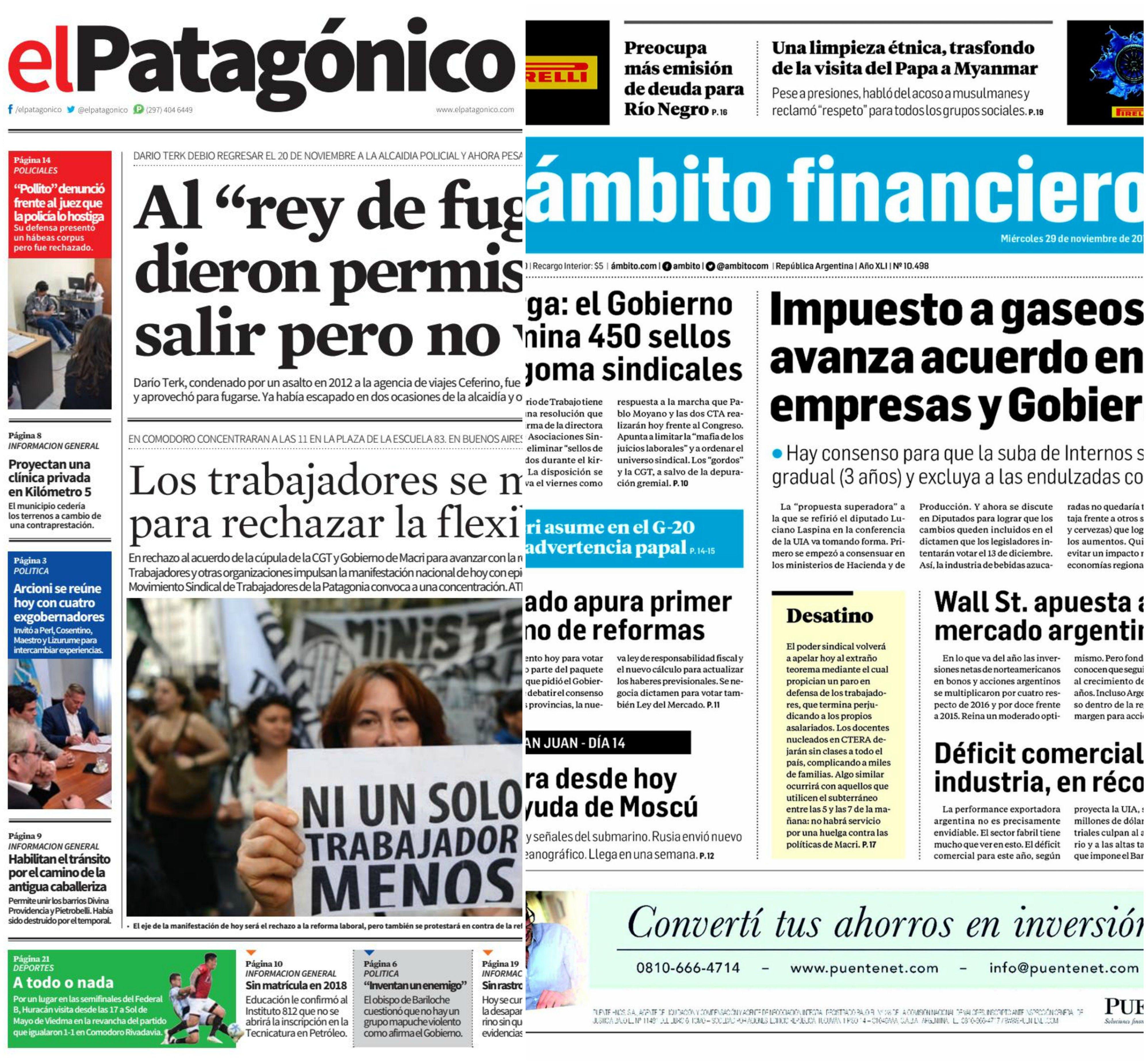 Tapas de diarios del miércoles 29 de noviembre de 2017