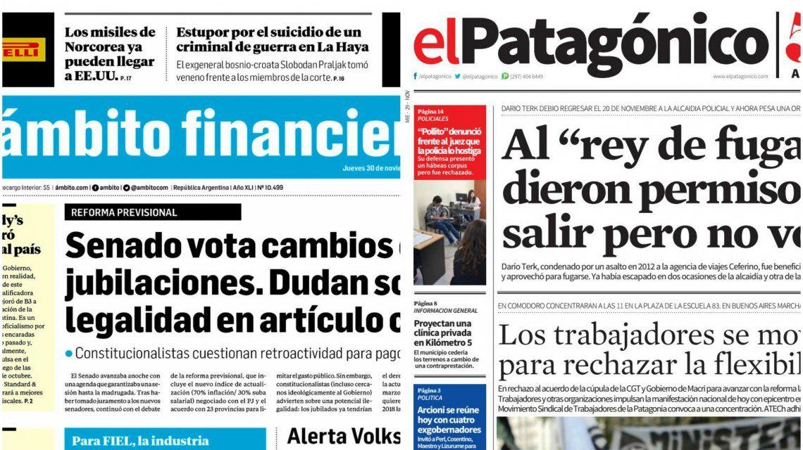 Tapas de diarios del jueves 30 de noviembre de 2017