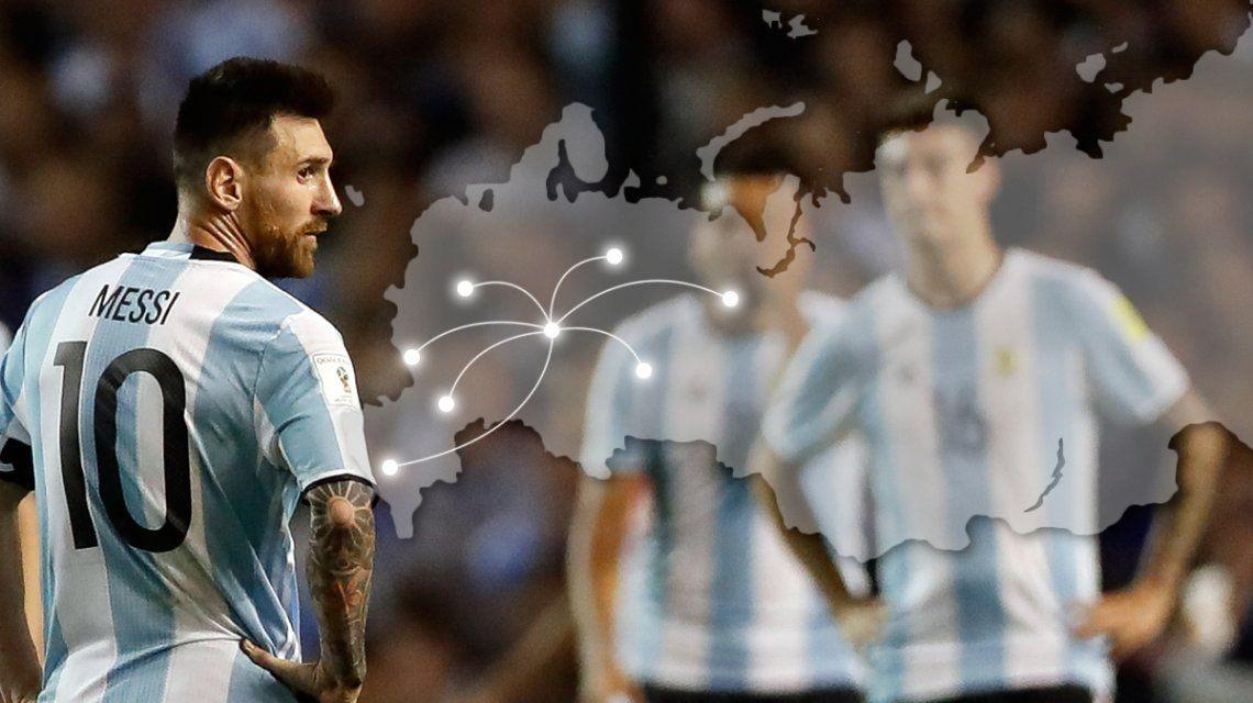 Los kilómetros que deberá recorrer la Selección argentina en la primera fase