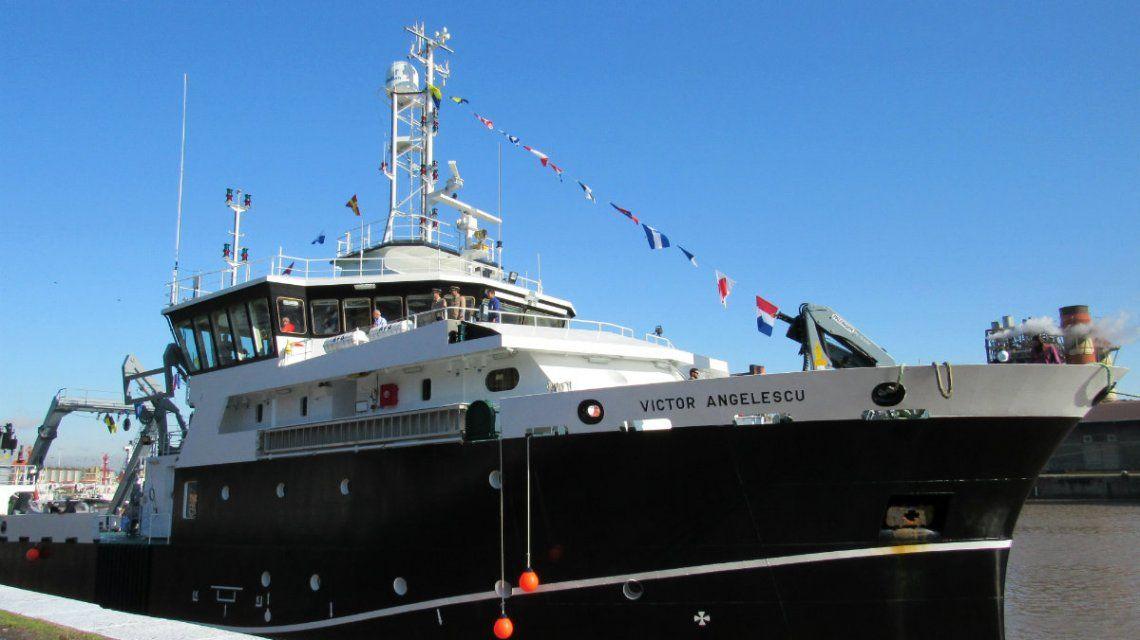 El buque Víctor Angelescu pertenece alInstituto Nacional de Investigación y Desarrollo Pesquero (Inidep)