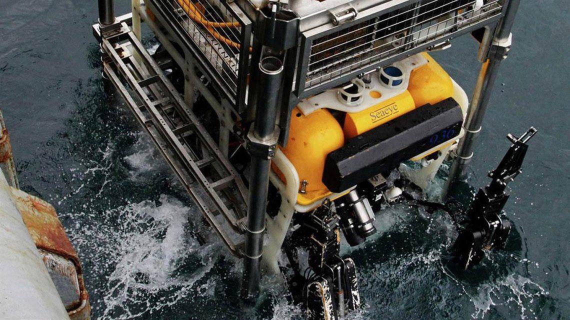 El contacto detectado el 30 de noviembre fue verificado por el ROV ruso y fue descartado. Foto: Armada Argentina.