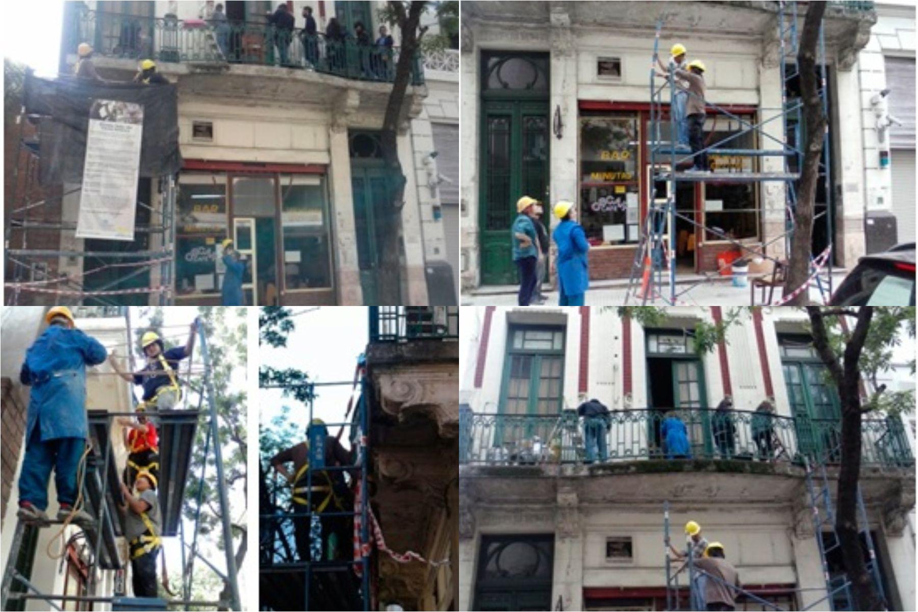 Trabajos de restauración del edificio.