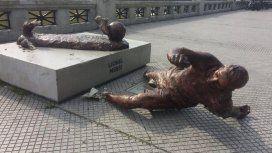 Así quedó la estatua de Lionel Messi