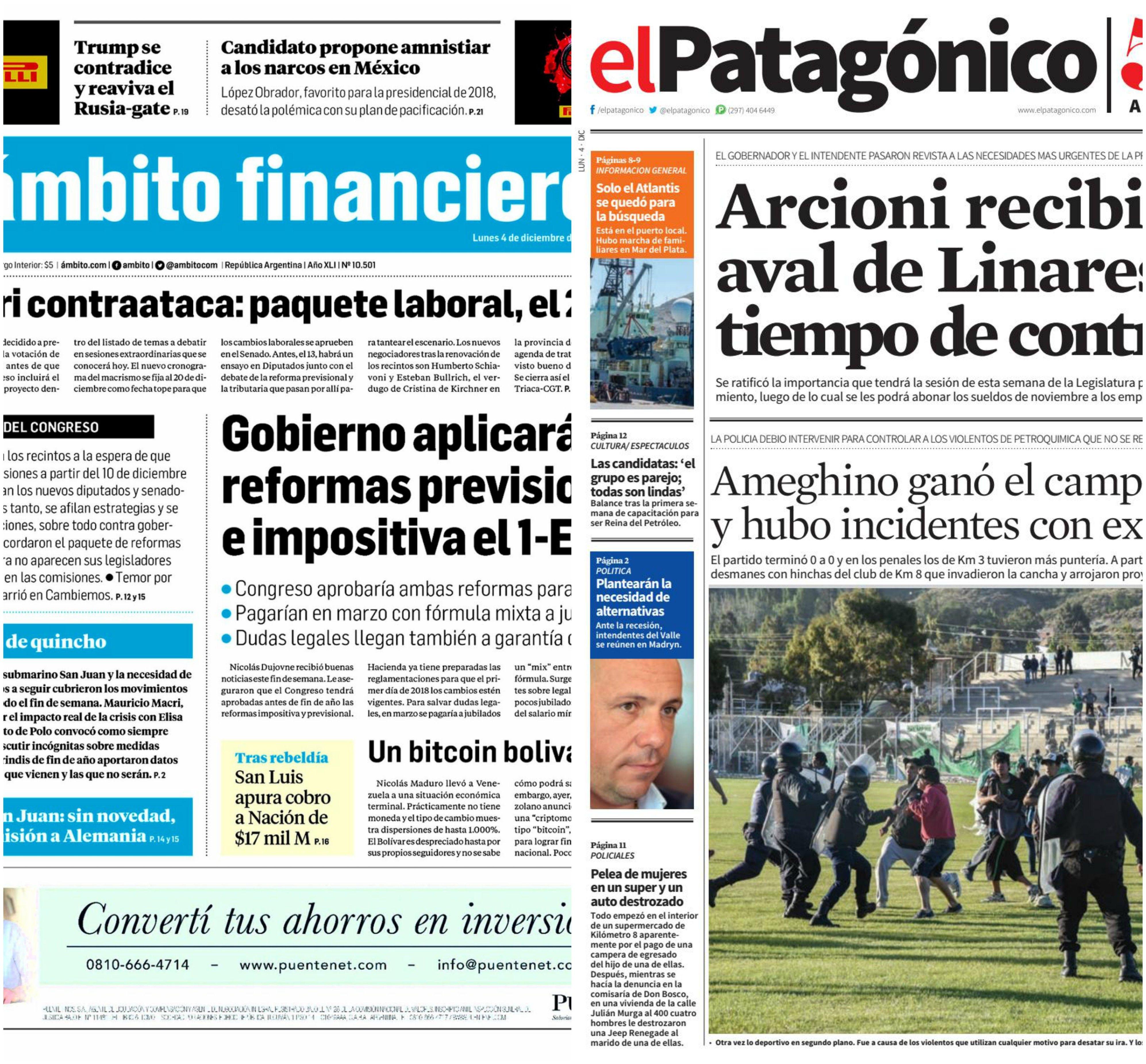 Tapas de diarios del lunes 4 de diciembre de 2017