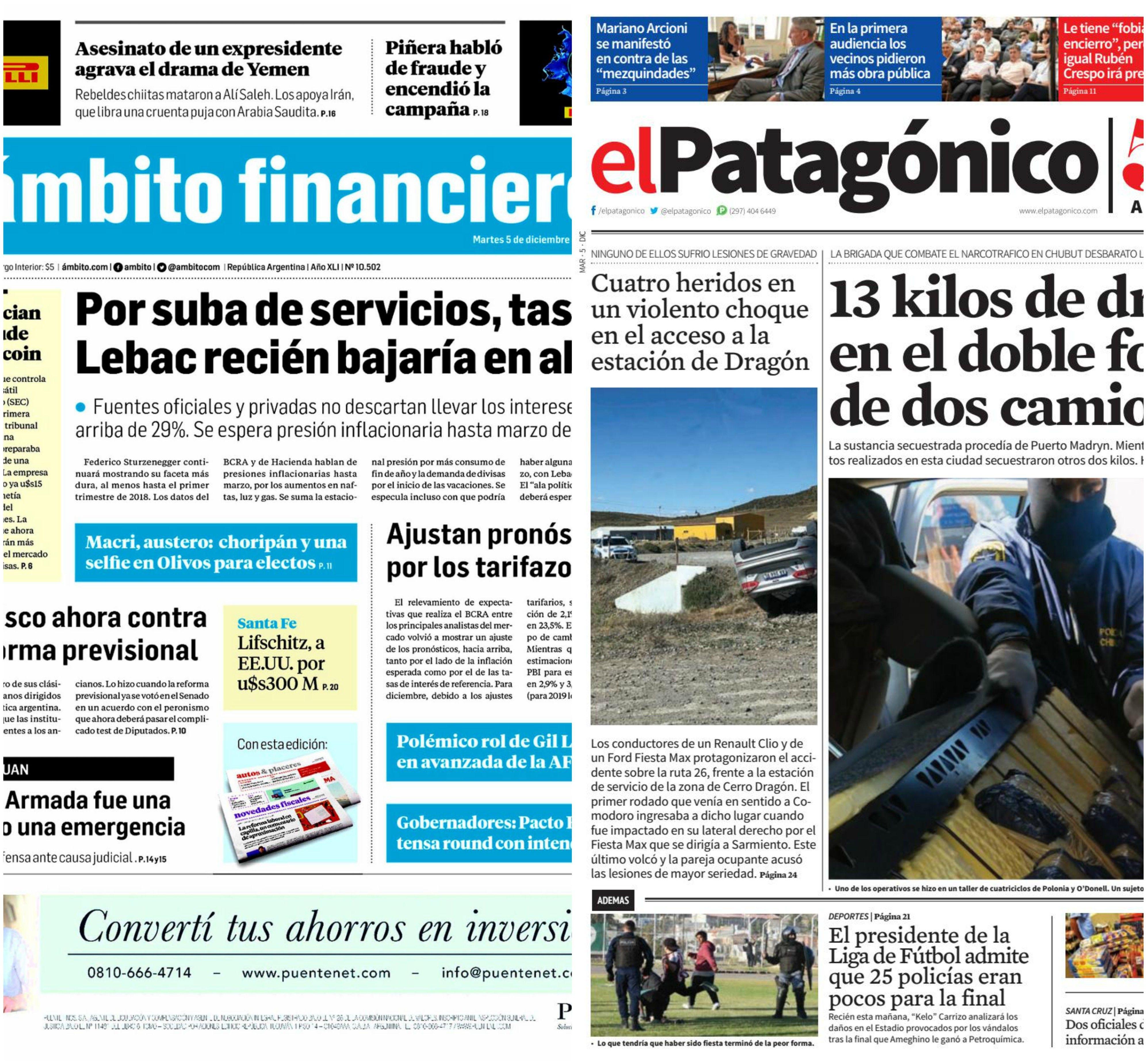 Tapas de diarios del martes 5 de diciembre de 2017