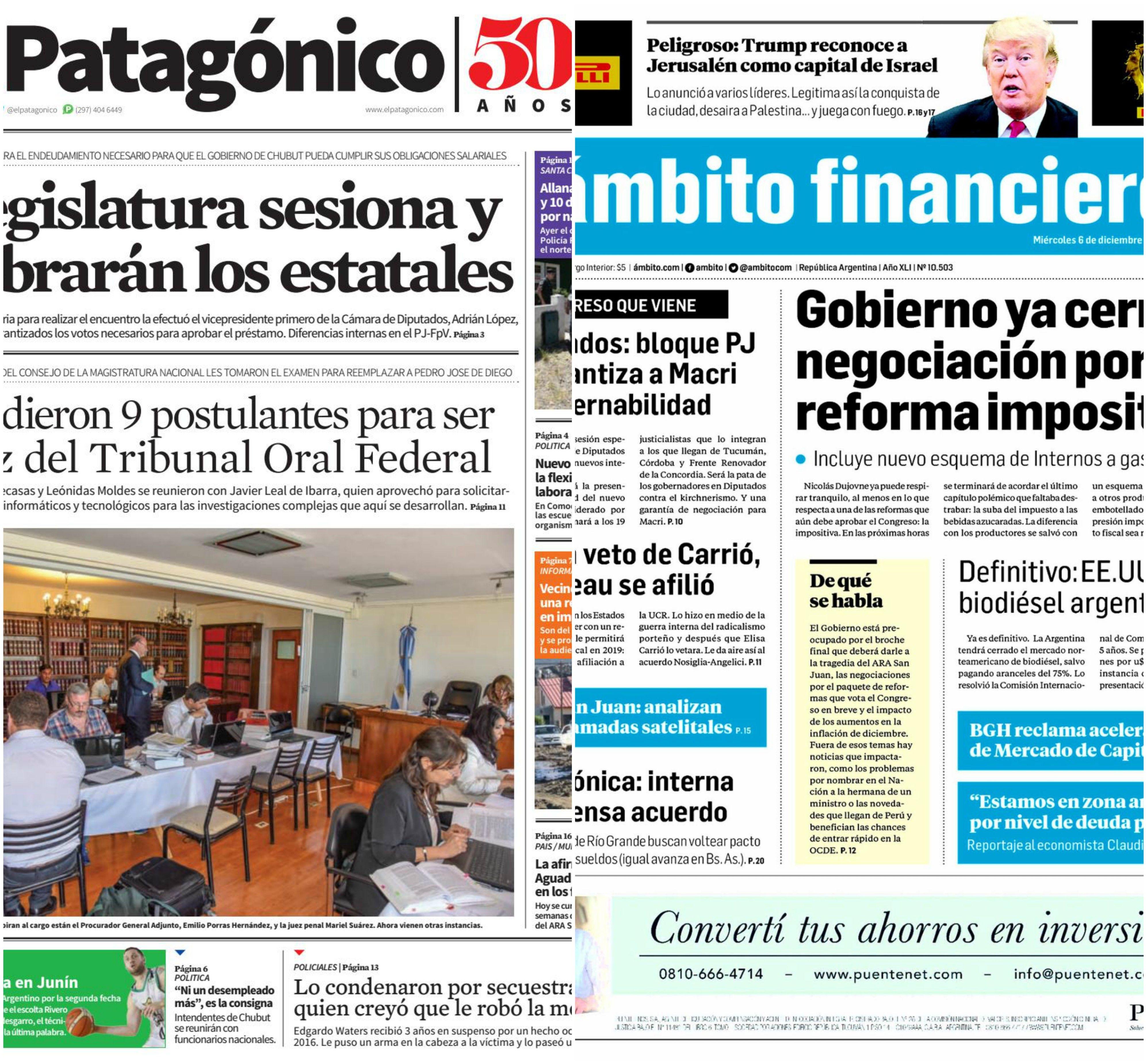 Tapas de diarios del martes 21 de noviembre de 2017