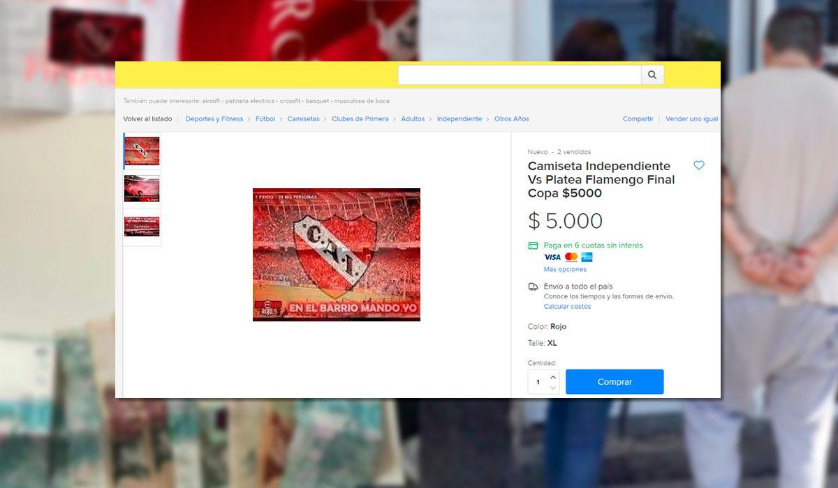 Ofrecía camisetas de Independiente – Flamengo: eran entradas y fue detenido