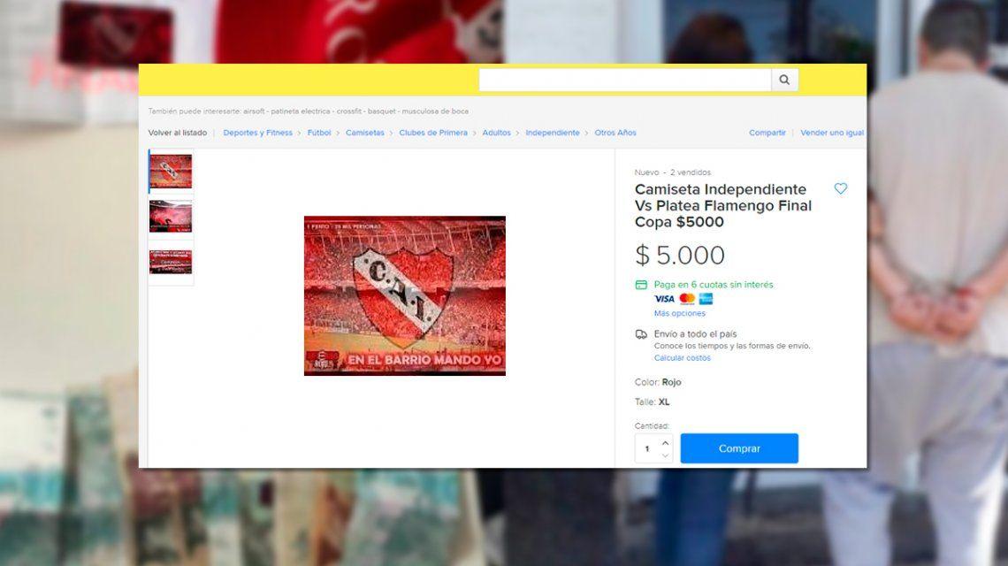 Ofrecía camisetas de Independiente – Flamengo  eran entradas y fue detenido 22155ab72d560