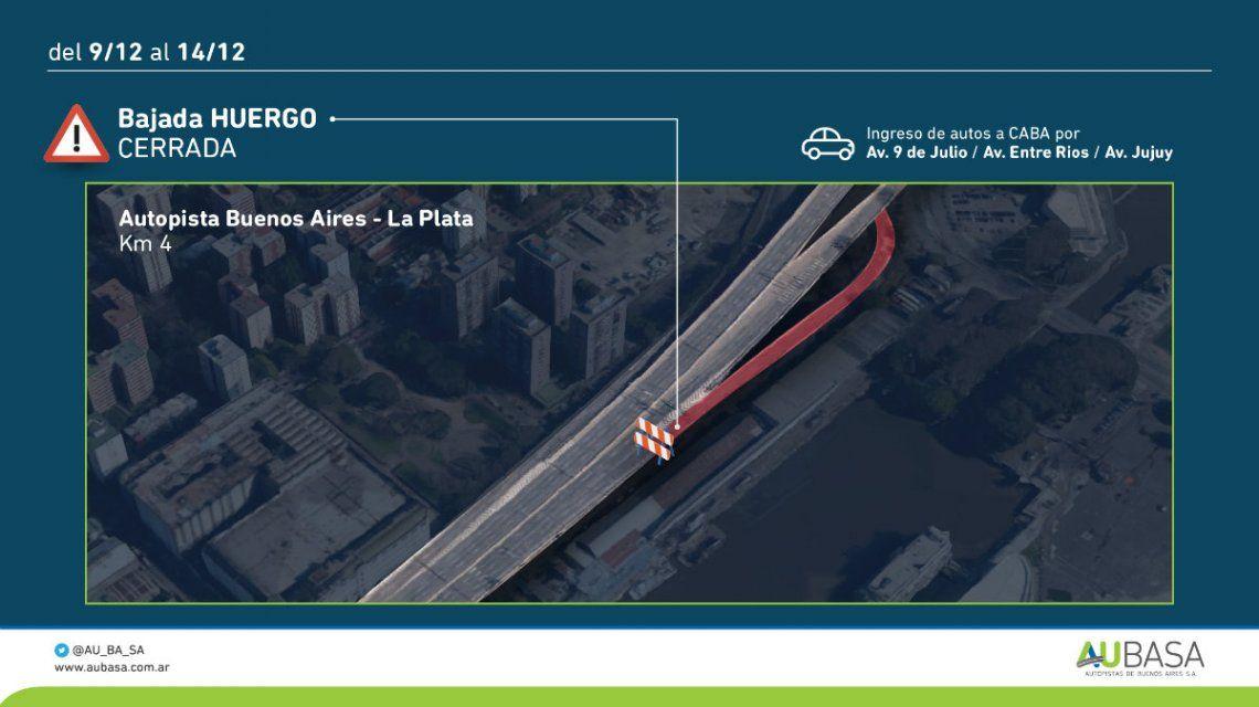Del 9 al 14 de diciembre estará cerrada la bajada Huergo de la autopista BA-La Plata
