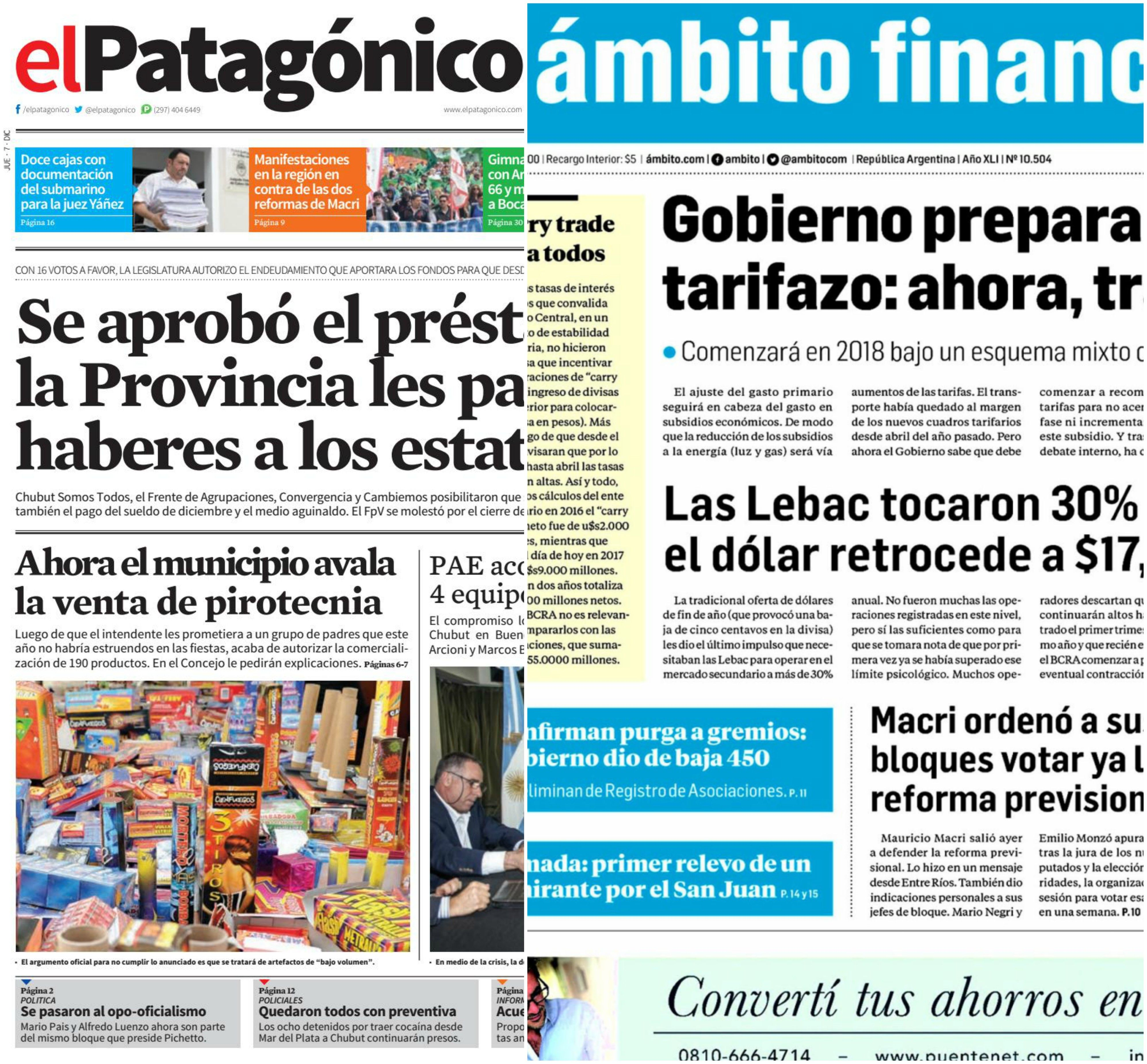 Tapas de diarios del jueves 7 de diciembre de 2017