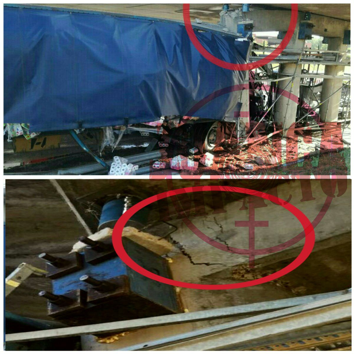 Así quedó el puente donde chocó el camión (@juancaimpacto)